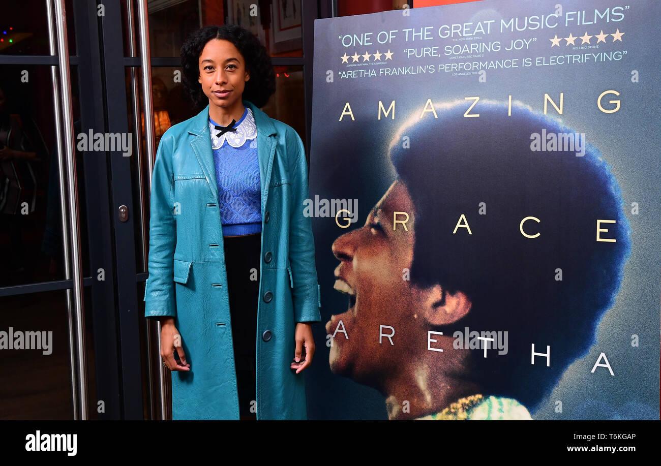 Corinne Bailey Rae asistieron a la proyección del documental, Aretha Franklin Amazing Grace, a jamón Yard Hotel, Londres. Foto de stock