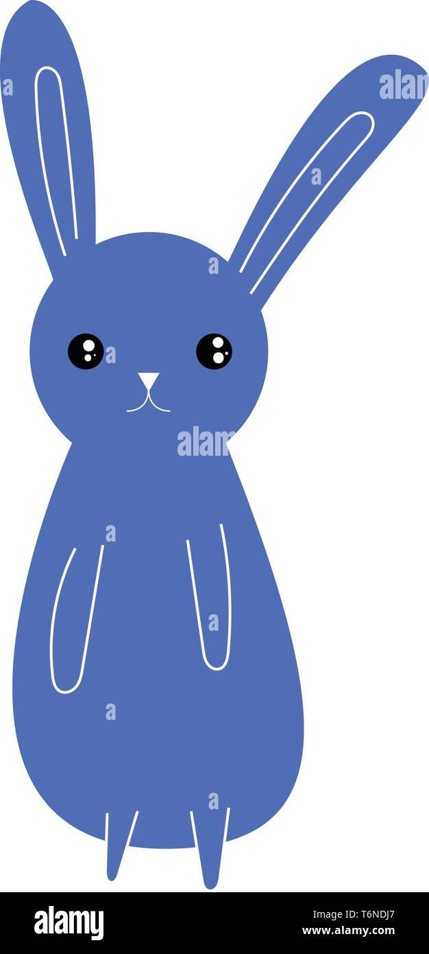 Dibujo de un conejo de color azul con orejas largas manos en su parte frontal del cuerpo las patas cortas expresa su tristeza el color de dibujo o ilustración vectorial Ilustración del Vector