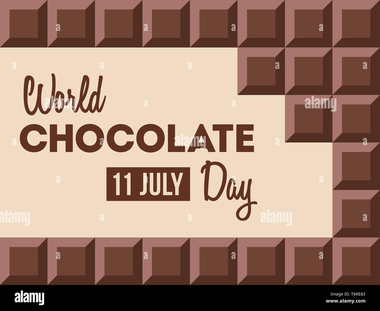 Día mundial del chocolate.11 de julio. Barras Сhocolate con texto en su interior. Diseño de carteles, banner, tarjeta de felicitación. Vector ilustración en color. Imagen De Stock