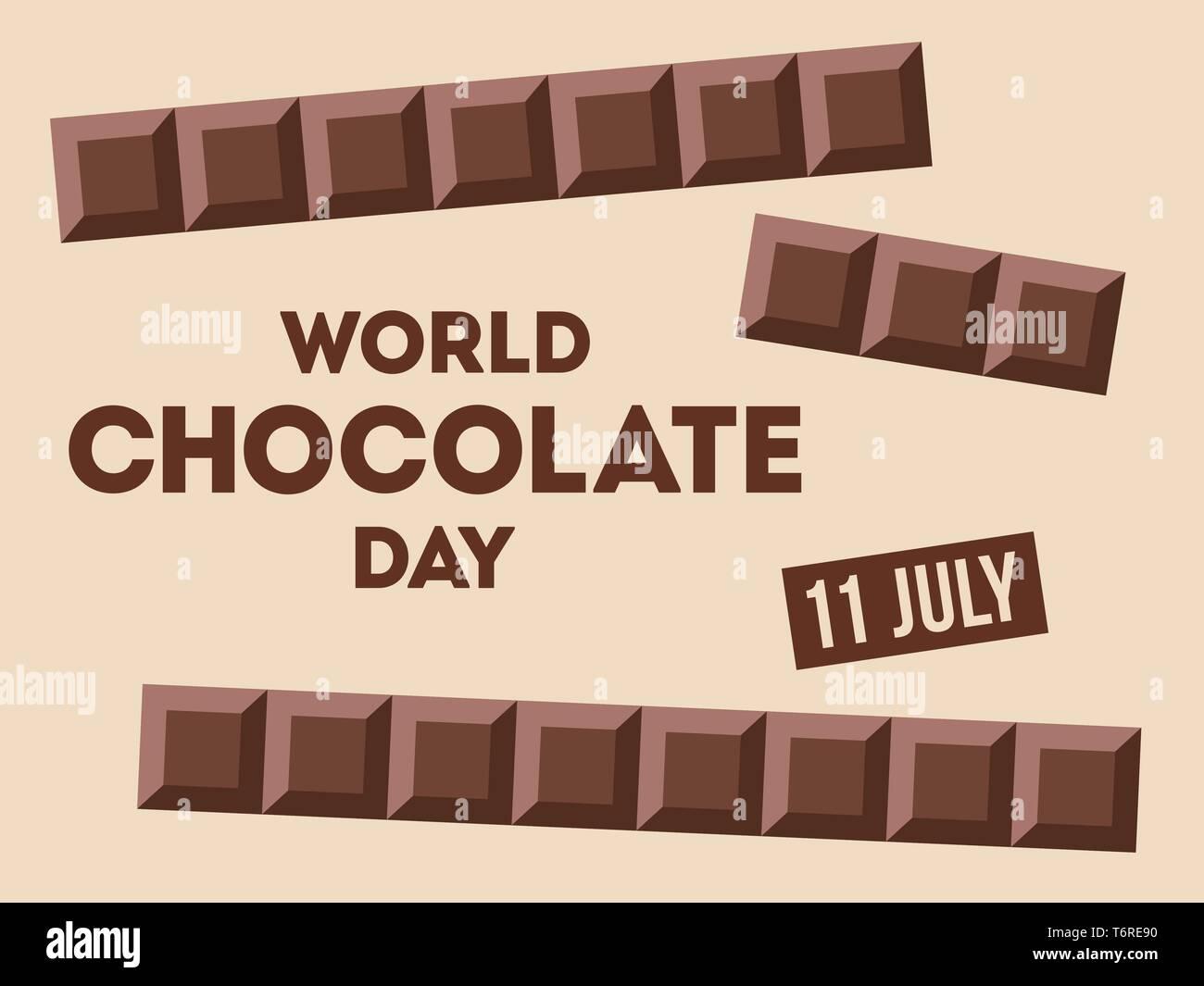 Día mundial del chocolate.11 de julio. Barras Сhocolate con texto. Diseño de carteles, banner, tarjeta de felicitación. Vector ilustración en color. Imagen De Stock