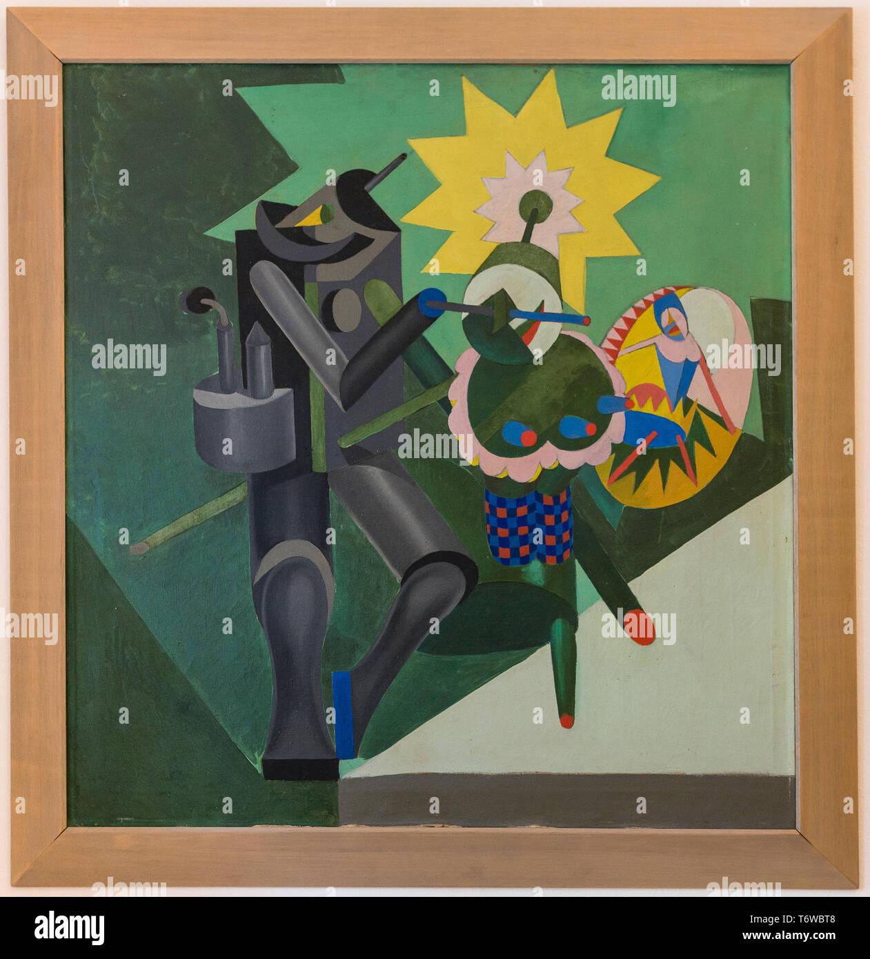 Rovereto, Casa Depero: 'Meccanica di ballerini', olio su tela di Fortunato Depero, 1917. [ENG] Rovereto, Casa Depero: 'Meccanica di ballerini', aceite p Imagen De Stock