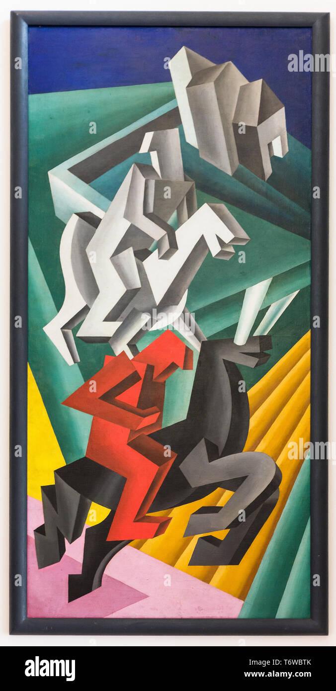 Rovereto, Casa Depero: ''Solidità di Cavalieri erranti', olio su tela di Fortunato Depero, 1927 [ENG] Rovereto, Casa Depero: 'Solidità di Cavalieri Imagen De Stock