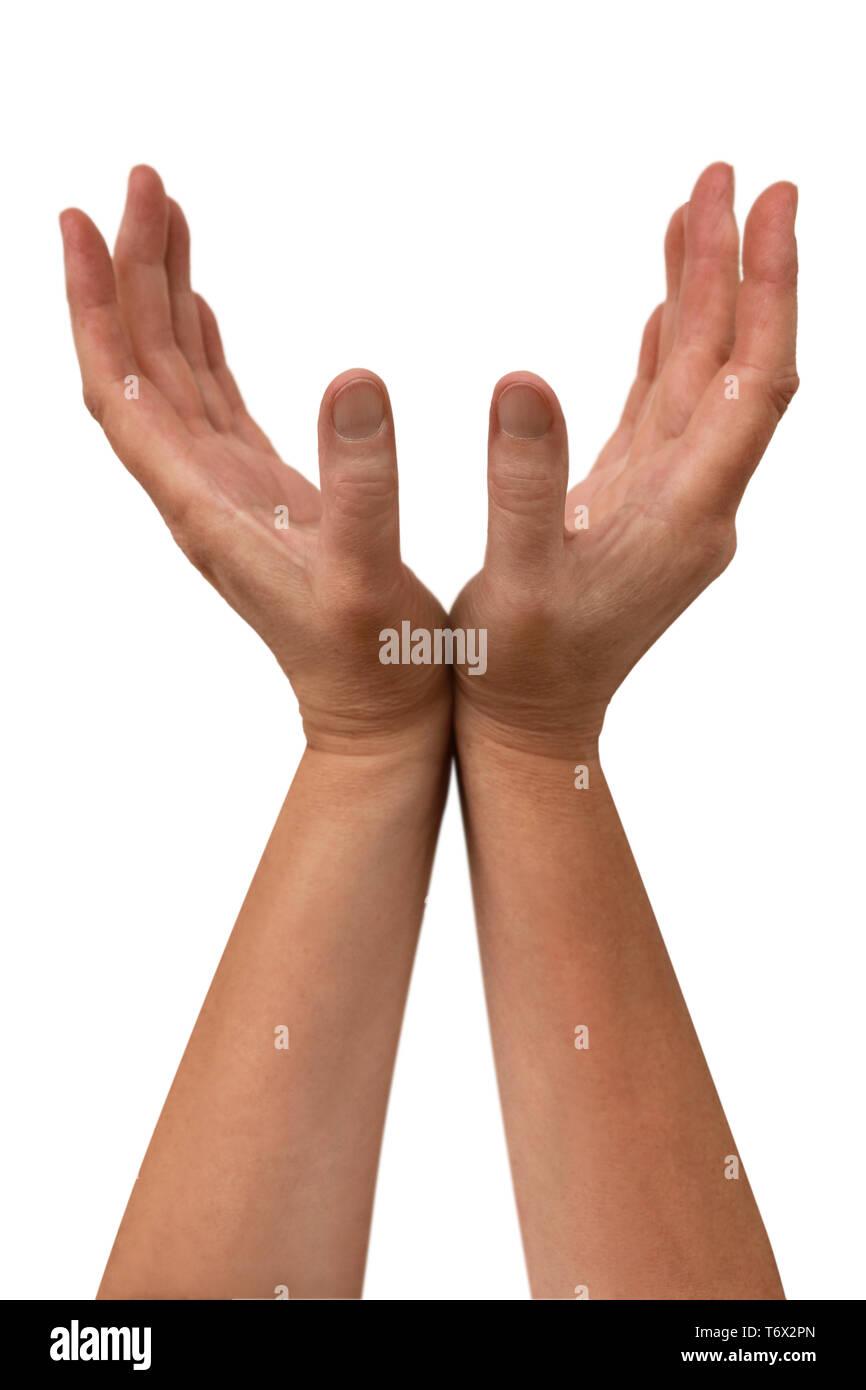 Serie de gestos, manos agarrando Imagen De Stock