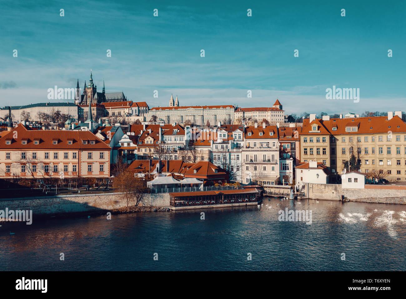 La catedral y el castillo de Praga, República Checa Foto de stock
