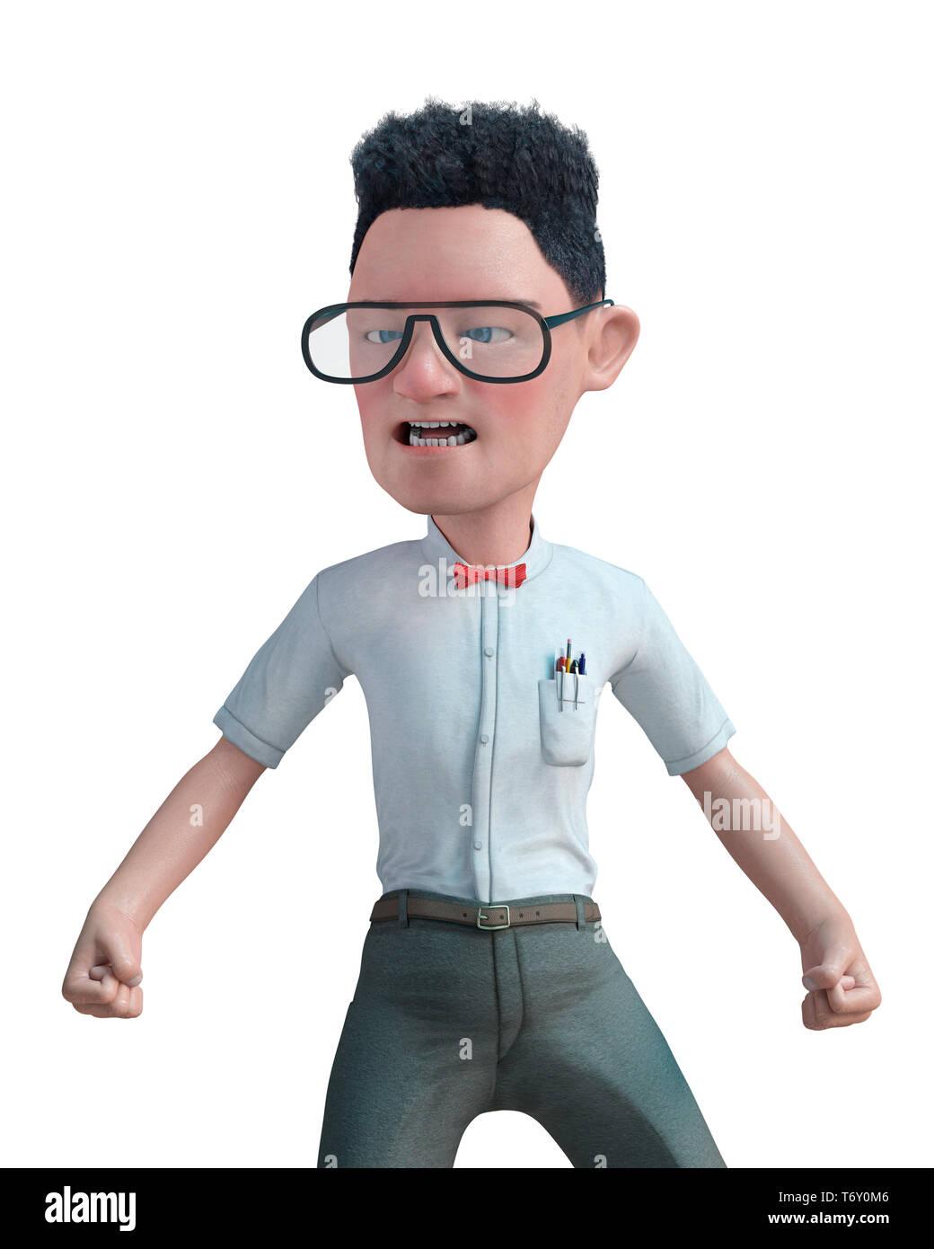 Este es un gracioso geek, nerd o simplemente un chico normal de dibujos animados. Este chico va a poner algo de diversión en creaciones tuyas Foto de stock