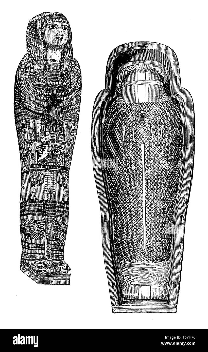 05955848d Egyptian Drawing And Mummy Imágenes De Stock   Egyptian Drawing And ...