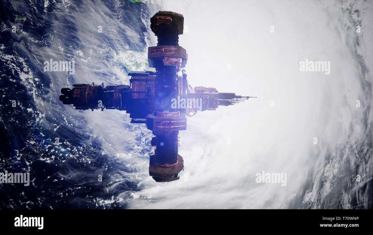 4k de vuelo de la Estación Espacial Internacional por encima de la tierra. Foto de stock