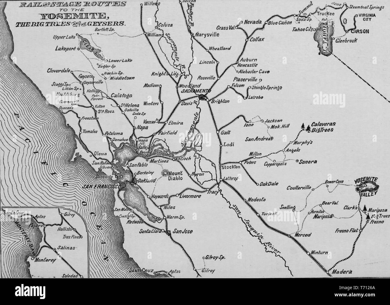 """Grabado del ferrocarril y las rutas a la etapa de Yosemite, del libro """"La nueva Crofutt overland y guía turística de la costa del Pacífico"""", 1879. Cortesía de Internet Archive. () Imagen De Stock"""