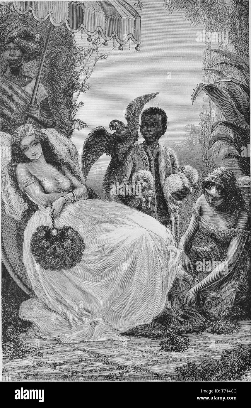 """Grabado de un país baja chica disfrutando de afecto de esclavos afroamericanos, del libro """"Los estados del sur de Norteamérica"""" por Edward King, 1875. Cortesía de Internet Archive. () Imagen De Stock"""