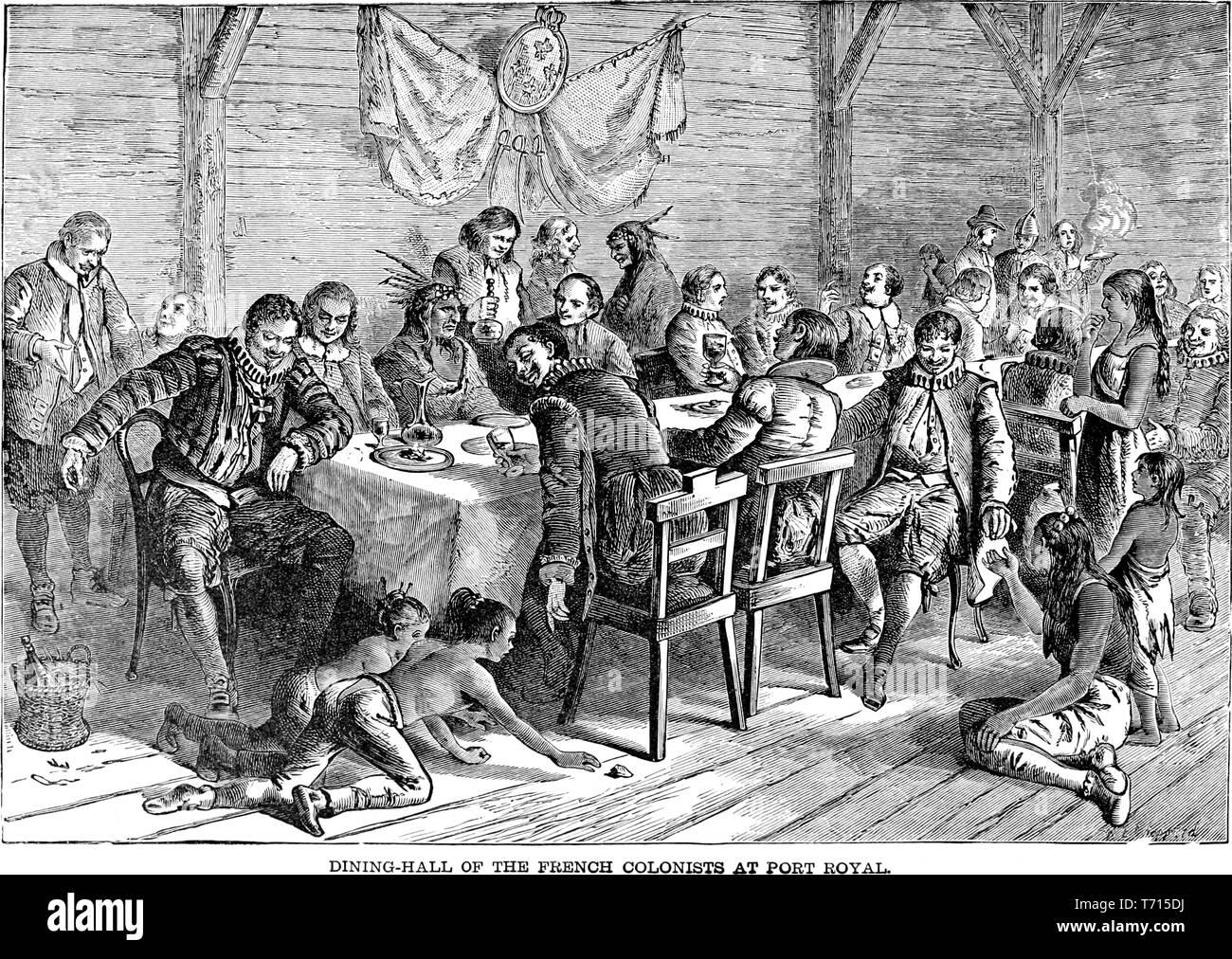 """Grabado en el comedor de los colonos franceses en Port Royal, Jamaica, del libro """"una historia popular de los Estados Unidos de América, desde los tiempos de los aborígenes hasta la actualidad' por John Clark Ridpath, 1893. Cortesía de Internet Archive. () Imagen De Stock"""