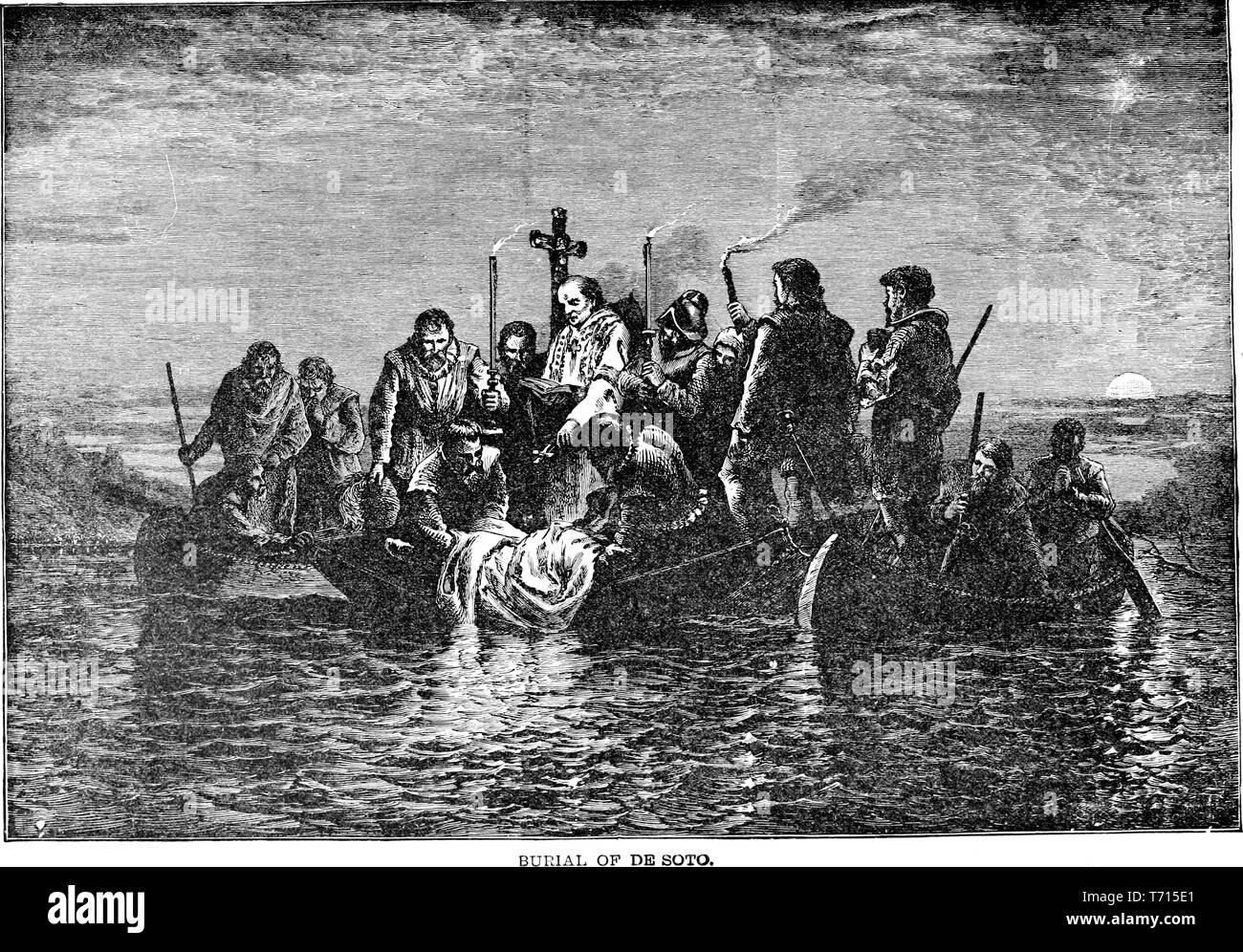 """Grabado de los funerales de Hernando de Soto en el Río Mississippi, del libro """"una historia popular de los Estados Unidos de América, desde los tiempos de los aborígenes hasta la actualidad' por John Clark Ridpath, 1893. Cortesía de Internet Archive. () Imagen De Stock"""
