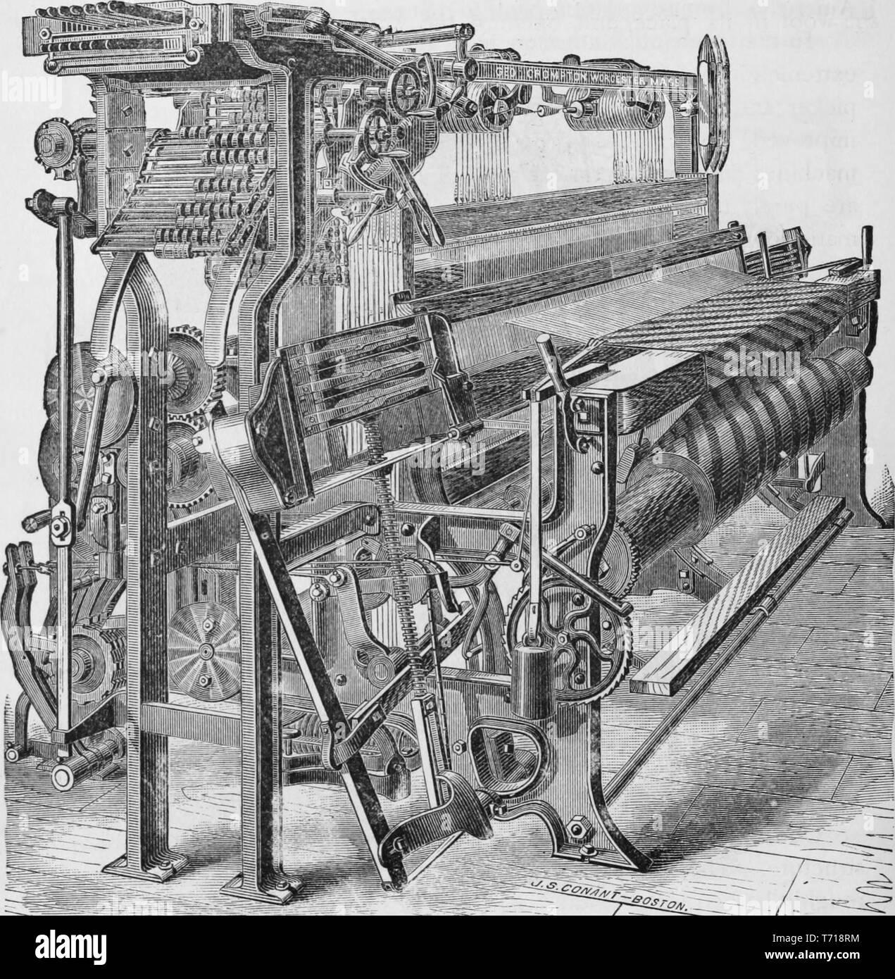 Grabado del chal telar maquinaria, del libro 'La historia industrial de los Estados Unidos, desde los primeros asentamientos hasta la actualidad' de Albert Sidney Bolles, 1878. Cortesía de Internet Archive. () Imagen De Stock