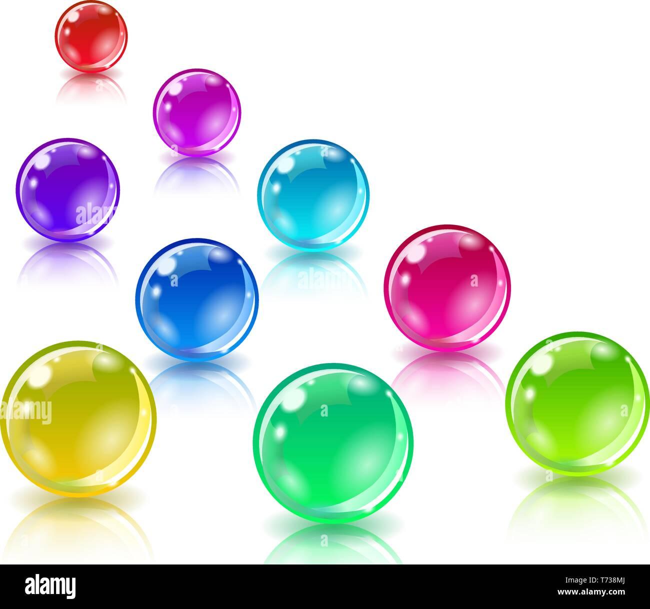 245cbd5c0 Tres bolas de diferentes colores sobre un fondo blanco. Malla de degradado  no se utiliza. Vector.