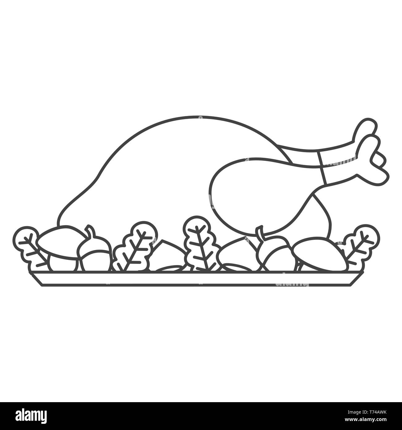 Caricatura En Blanco Y Negro Pavo Asado Del Día De Acción De