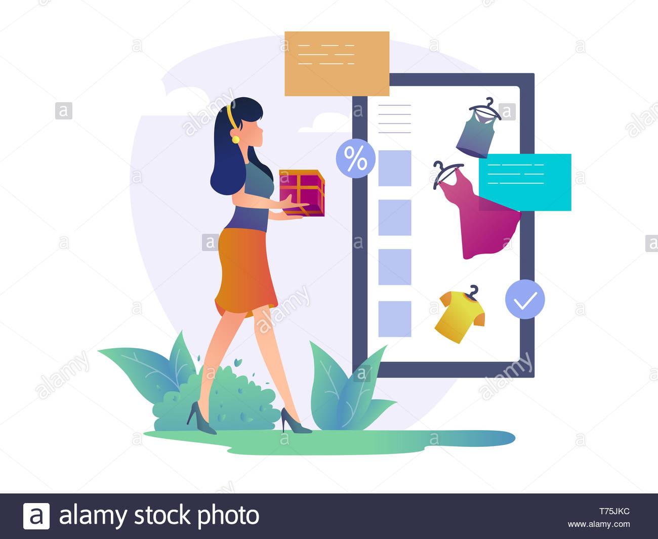 27aa4fe1ee Concepto de compras en línea. Mujer alegre y compras. Las mujeres compran en  la