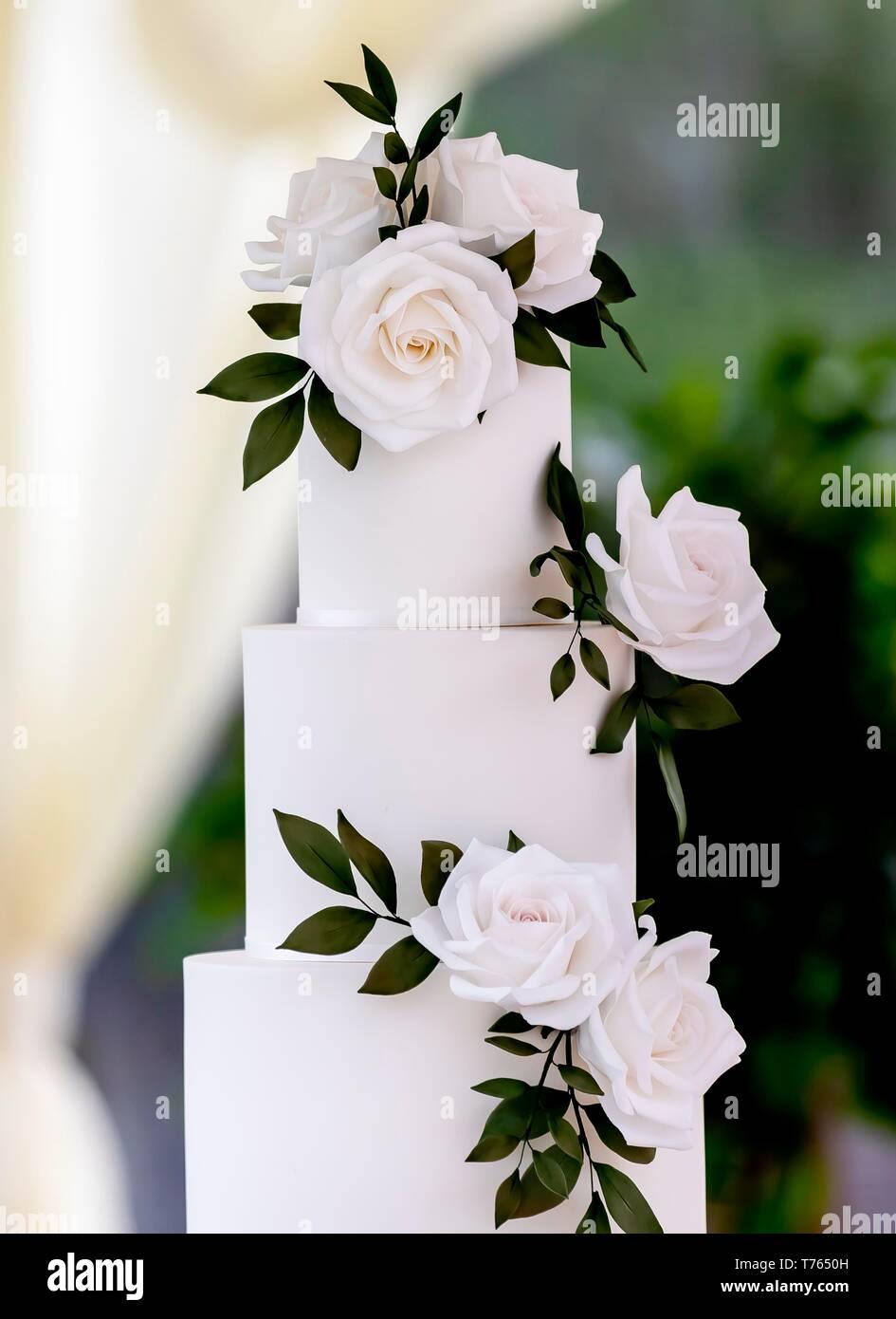 Cerca de pastel de boda elegante y minimalista decorado con rosas blancas sobre una tabla en una carpa tradicional de verano. Foto de stock