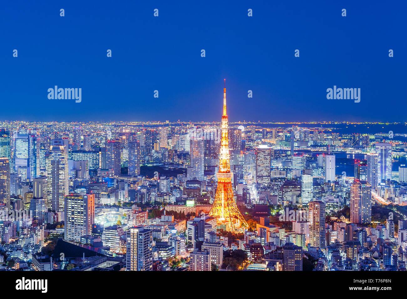 Vista de la Torre de Tokyo de noche las luces del horizonte de Tokio Imagen De Stock