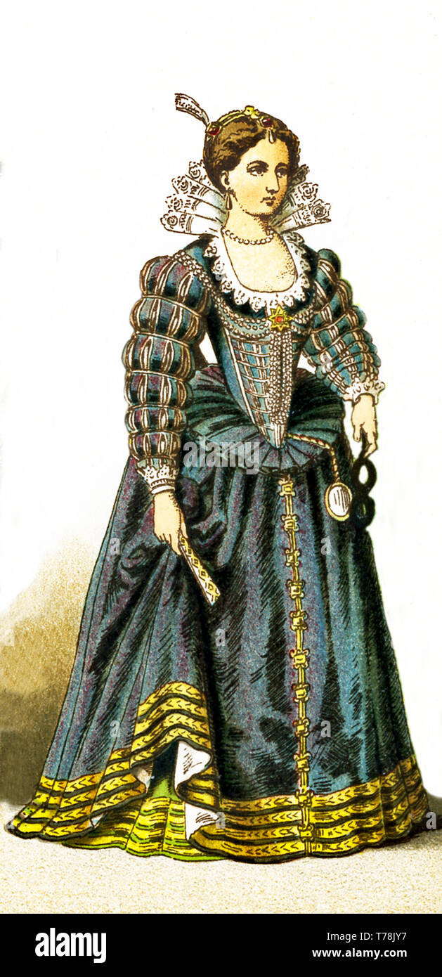 La figura está representada por una dama de la corte francesa entre 1550 y 1600. La ilustración se remonta a 1882. Imagen De Stock