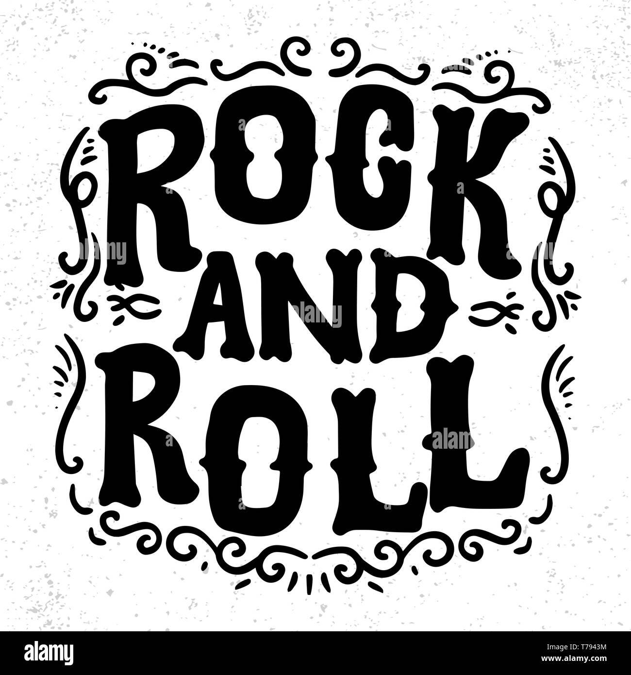 El Rock And Roll Rotulación Frase Para La Tarjeta De