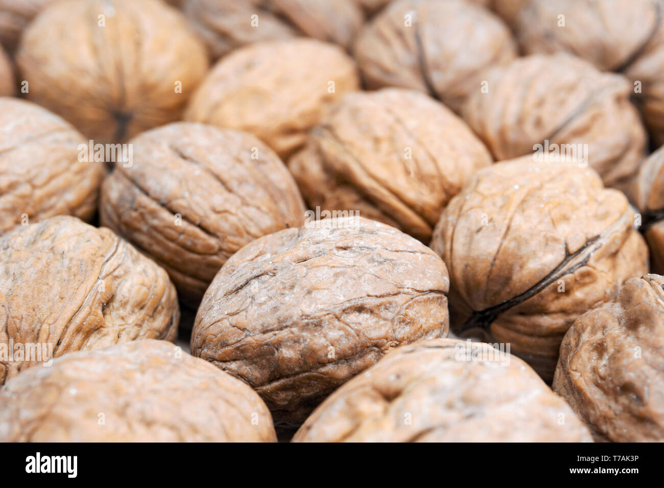 Close-up de muchas nueces saludables. Vista de nueces frescas. Tuercas saludable con los ácidos grasos omega-3 y antioxidantes para una vida saludable y bella piel. Foto de stock