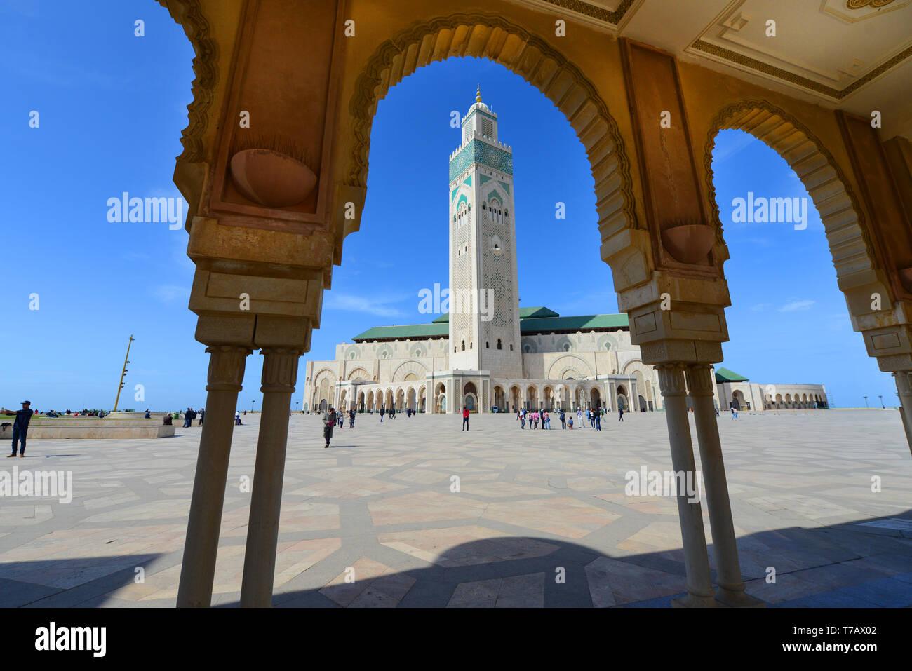 Mezquita de Hassan II en Casablanca, Marruecos. Foto de stock