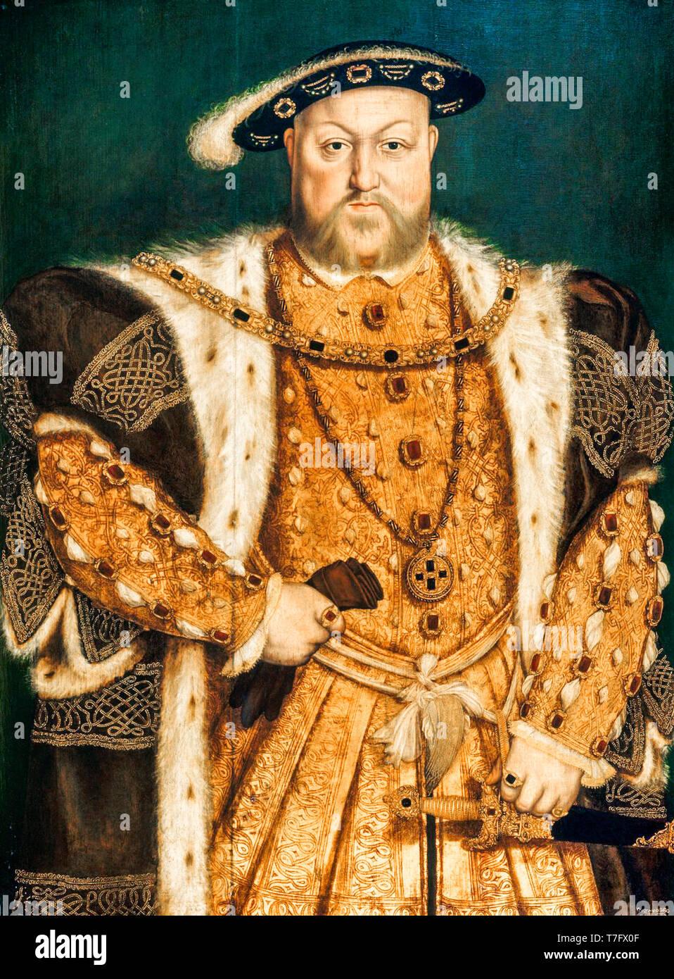 Retrato de Enrique VIII (1491-1547), pintura después de Hans Holbein, c. 1538 Foto de stock