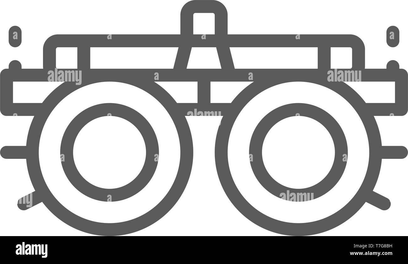 31539a9c56 Selección de dispositivo de gafas, lentes, dioptrías icono de línea. Imagen  De Stock