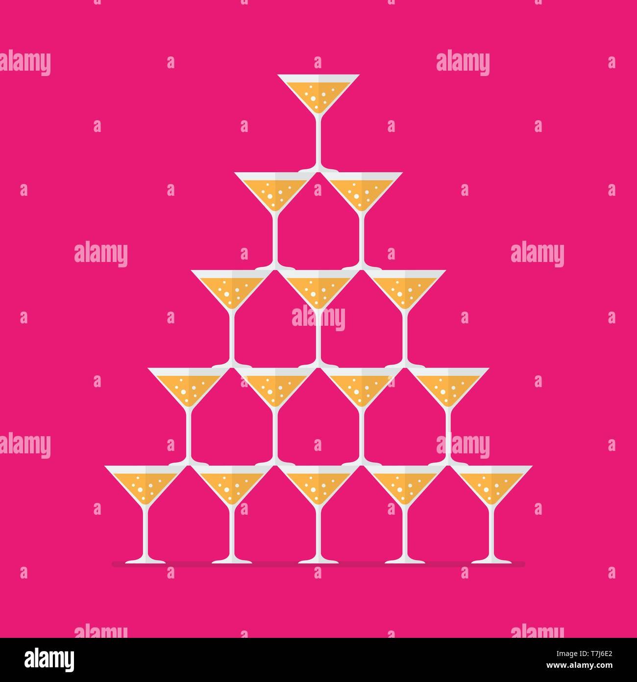 b997ea537 Vasos de cóctel apiladas en una torre piramidal. Ilustración vectorial  Imagen De Stock