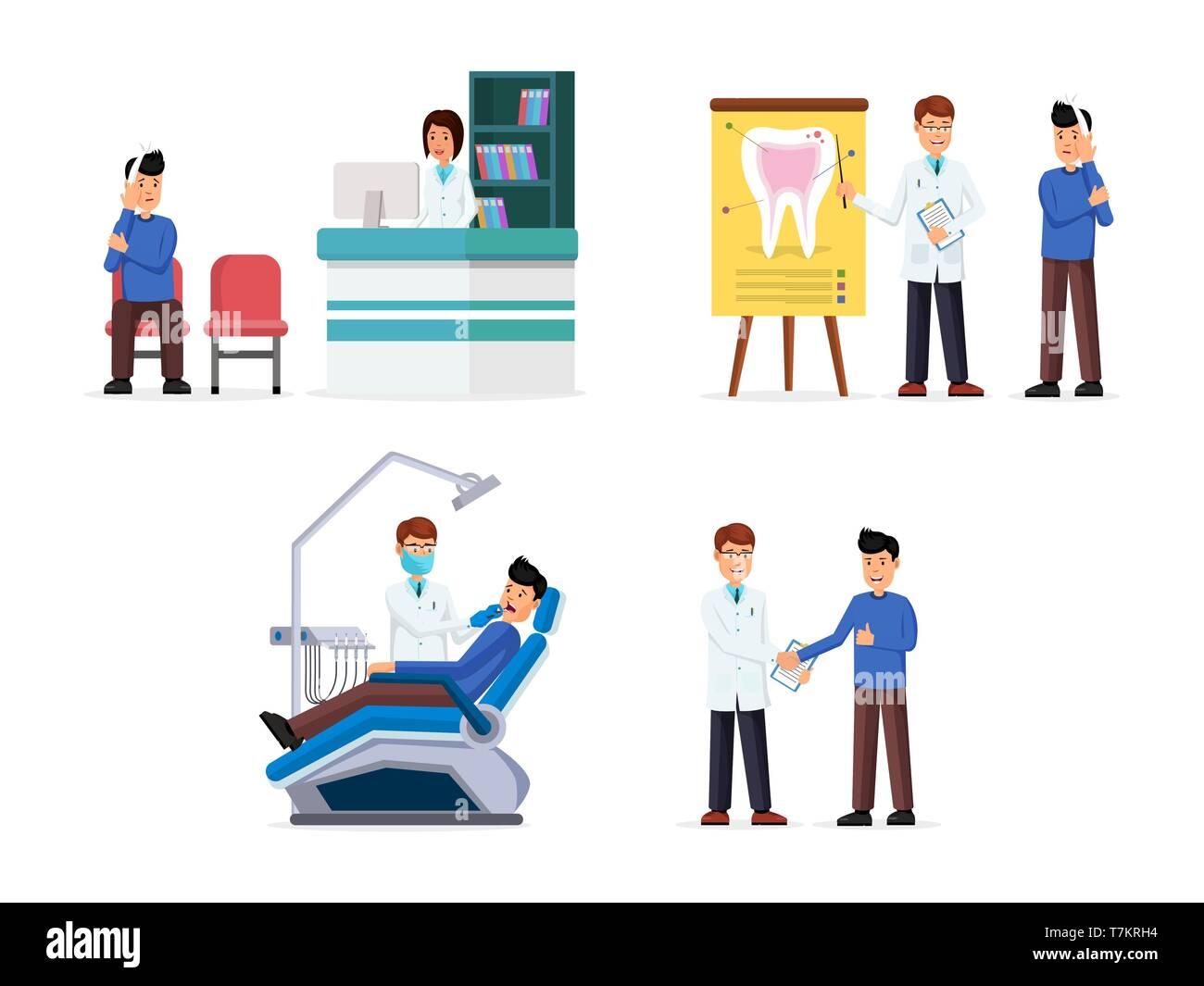 Conjunto de recepción con nurce hombre, médico y paciente tratamiento consultación y alta calidad comentarios diseño plano ilustración vectorial. Concepto de salud. Aislado en blanco Ilustración del Vector