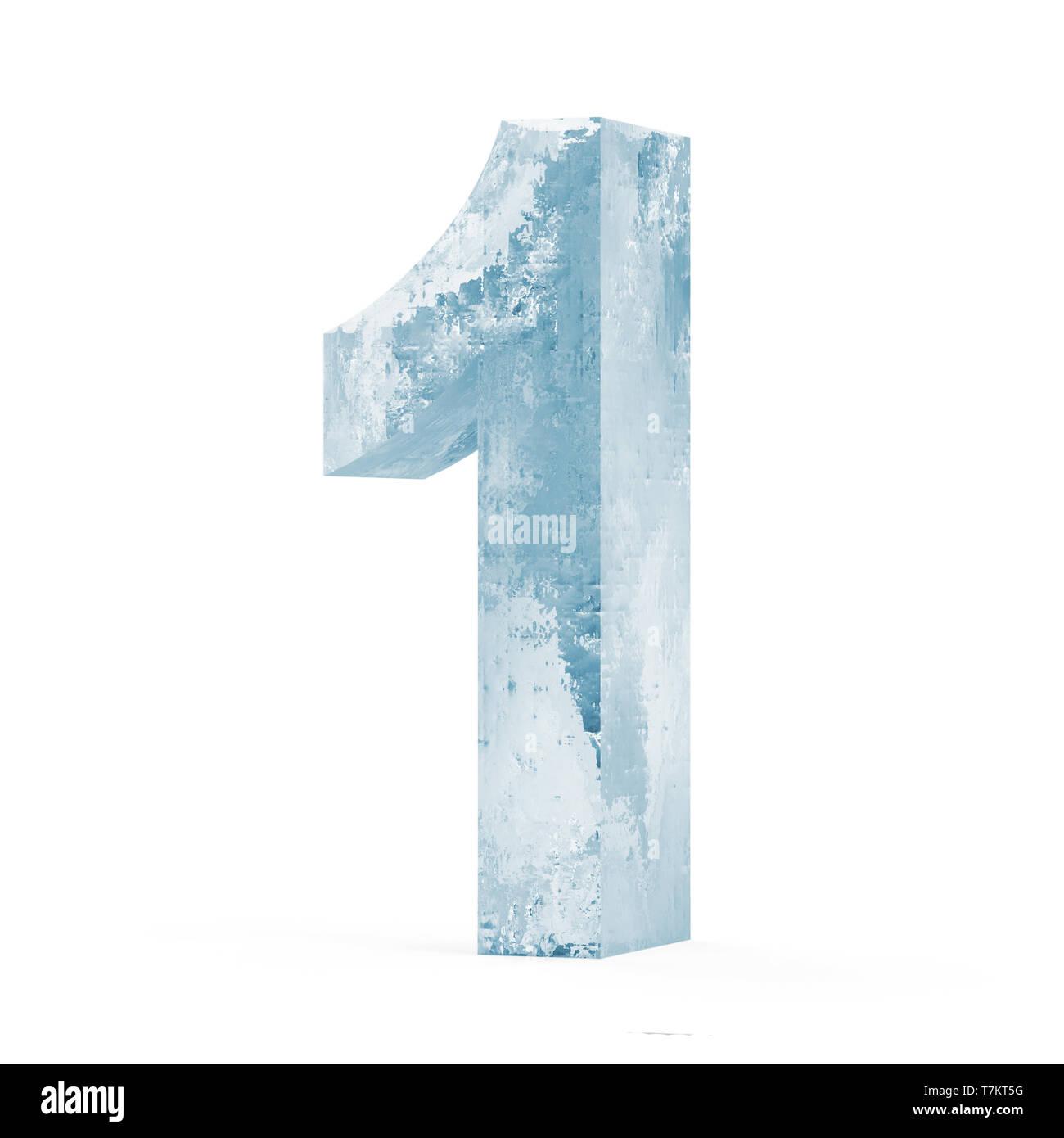 Números de hielo aislado sobre fondo blanco (número 1). Imagen De Stock