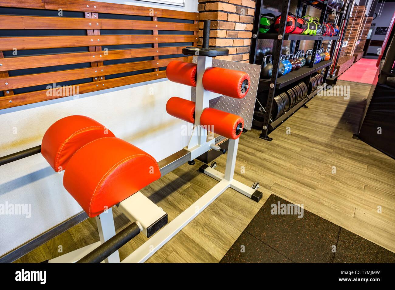 GRODNO, BIELORRUSIA - Abril 2019: Salón de artes marciales con los combates de anillo y saco de arena y simuladores en el moderno club de la lucha Imagen De Stock