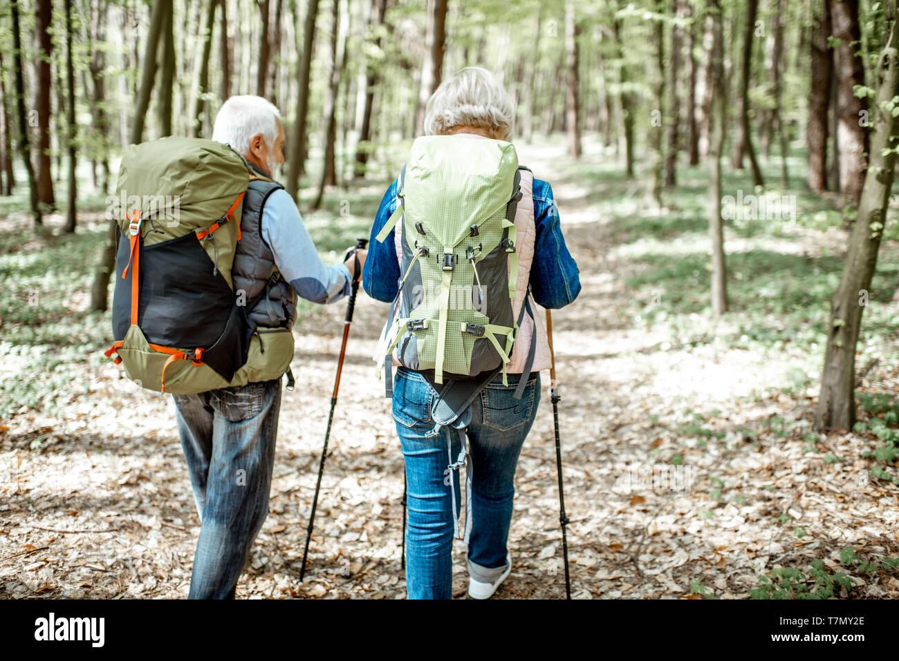 Las parejas ancianas caminatas con mochilas y bastones de trekking en la selva, vista posterior. Concepto de un estilo de vida activo sobre jubilación Foto de stock