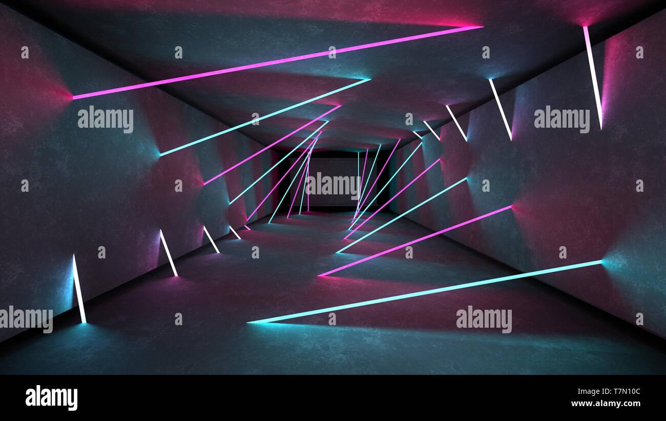 23898d02b Club de noche las luces interiores 3D Render para el espectáculo de láser.  Las líneas
