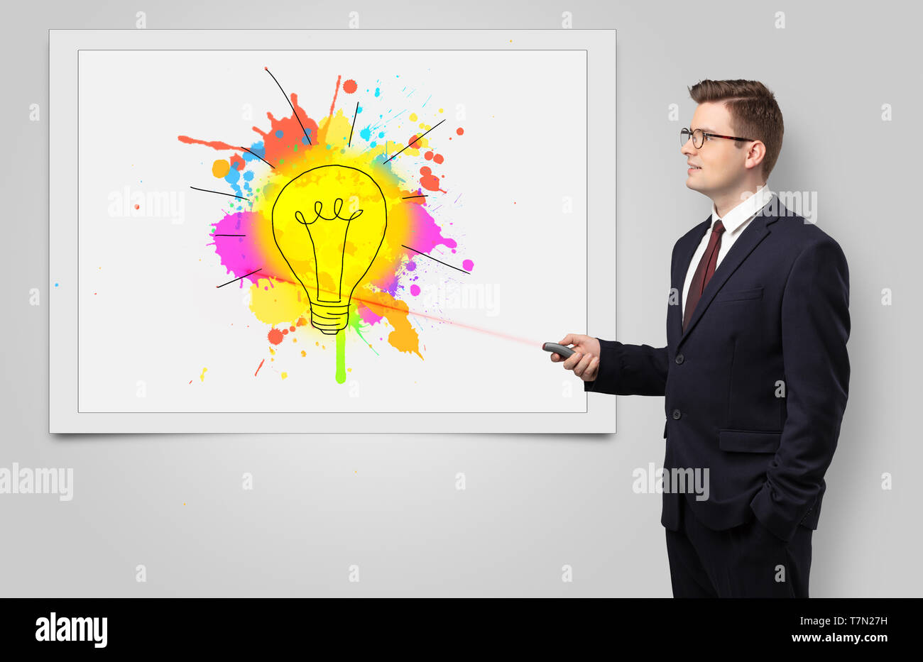 Hombre con puntero láser presentación innovadora idea Imagen De Stock