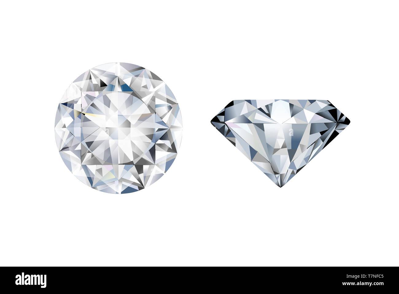 9ced75eacd3a Dos diamantes realista en diferentes perspectivas sobre un fondo blanco.  Imagen De Stock