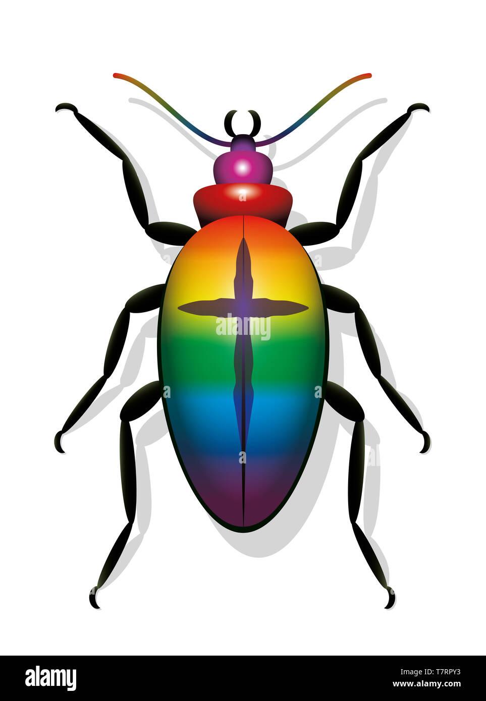 Escarabajo colorido con la cruz. Símbolo de la disminución de las poblaciones de insectos y de extinción de especies - Ilustración sobre fondo blanco. Imagen De Stock