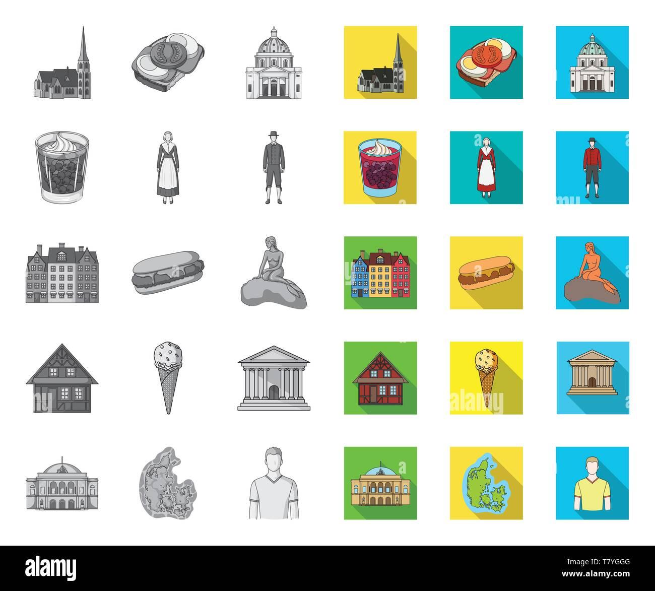 País Dinamarca mono,iconos planas en conjunto para el diseño. Viajes y atracciones Dinamarca símbolo vector stock ilustración. Ilustración del Vector