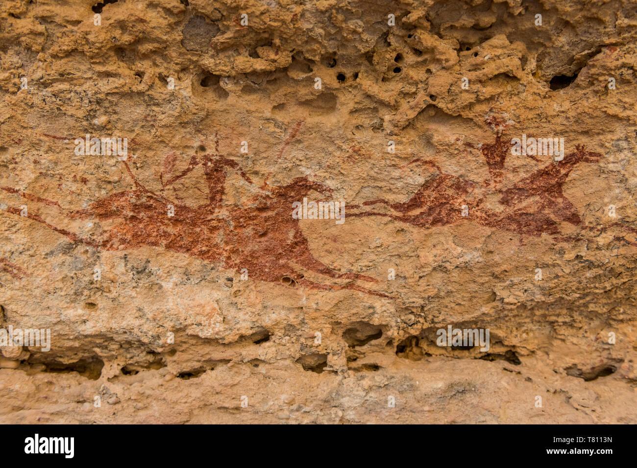 Pintura rupestre de Ennedi, meseta, Sitio del Patrimonio Mundial de la UNESCO, la región de Ennedi, Chad, África Foto de stock