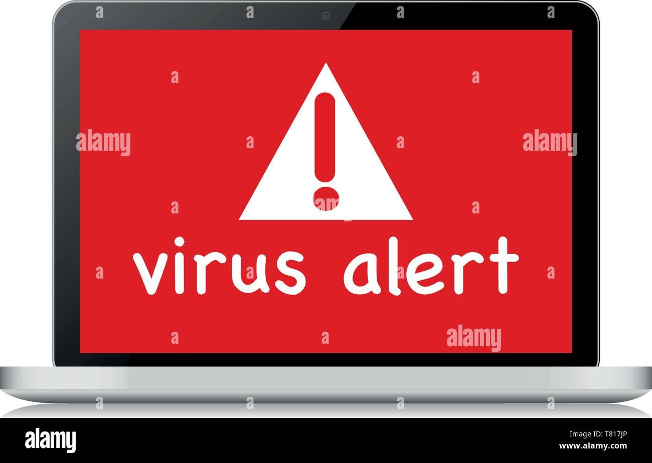 Alerta de virus de ordenador portátil - Ilustración ilustración Imagen De Stock