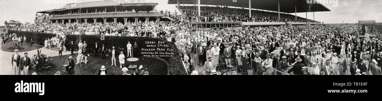 Día de Derby, 7 de marzo de 1931, Hialeah Park, Florida, Saratoga del sur, Miami Racing Association Imagen De Stock