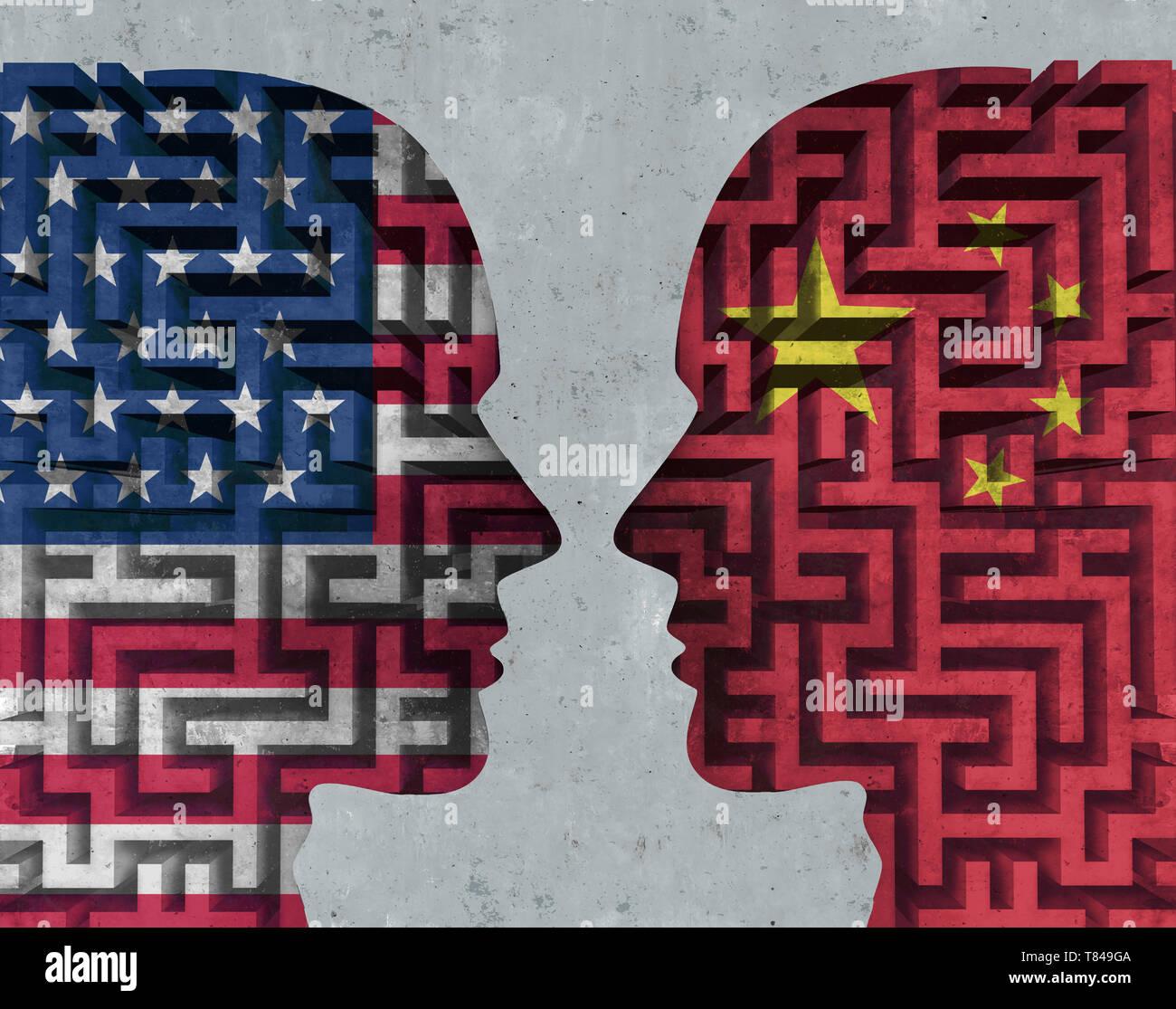 Estados Unidos China negociaciones y conversaciones de comercio desafío con los negociadores gubernamentales estadounidenses y chinos para resolver una disputa económica. Foto de stock