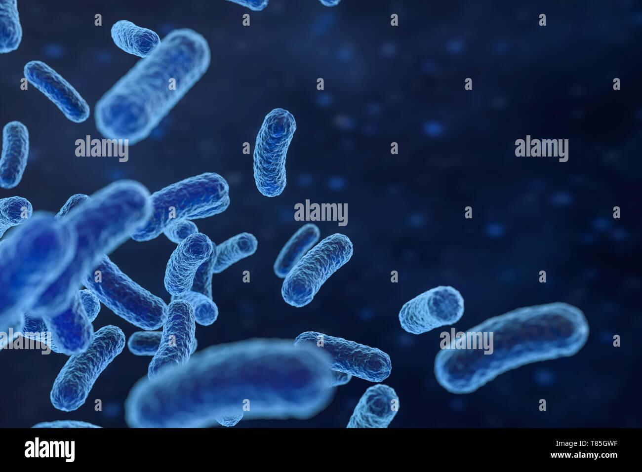 3D Rendering, virus infecciosos con los detalles de la superficie de fondo azul. Equipo de imagen digital. Foto de stock