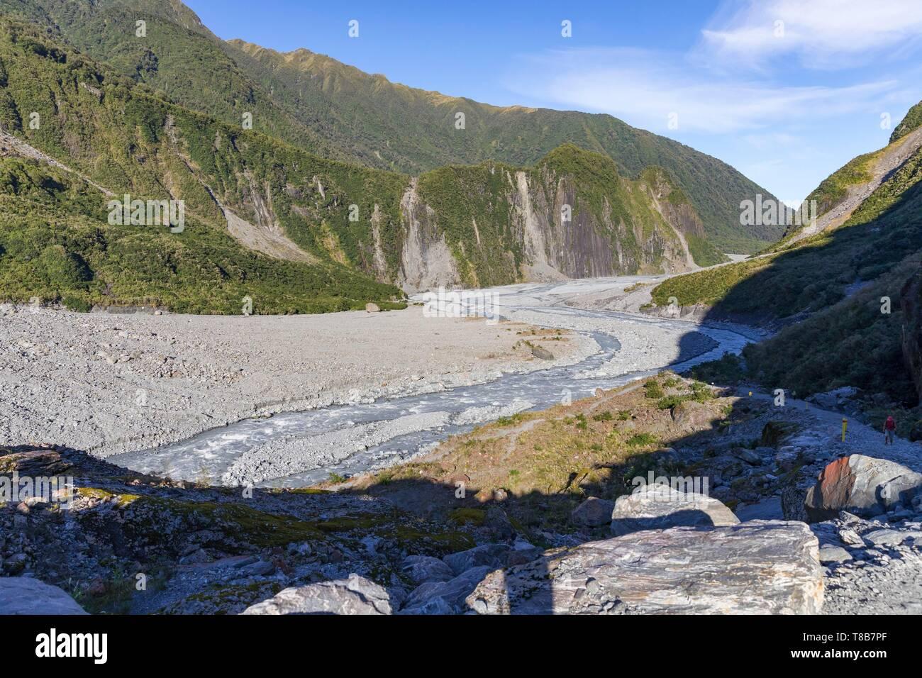 Nueva Zelanda, Isla del Sur, la región de la costa oeste, el glaciar Fox, el glaciar Fox Valley Foto de stock