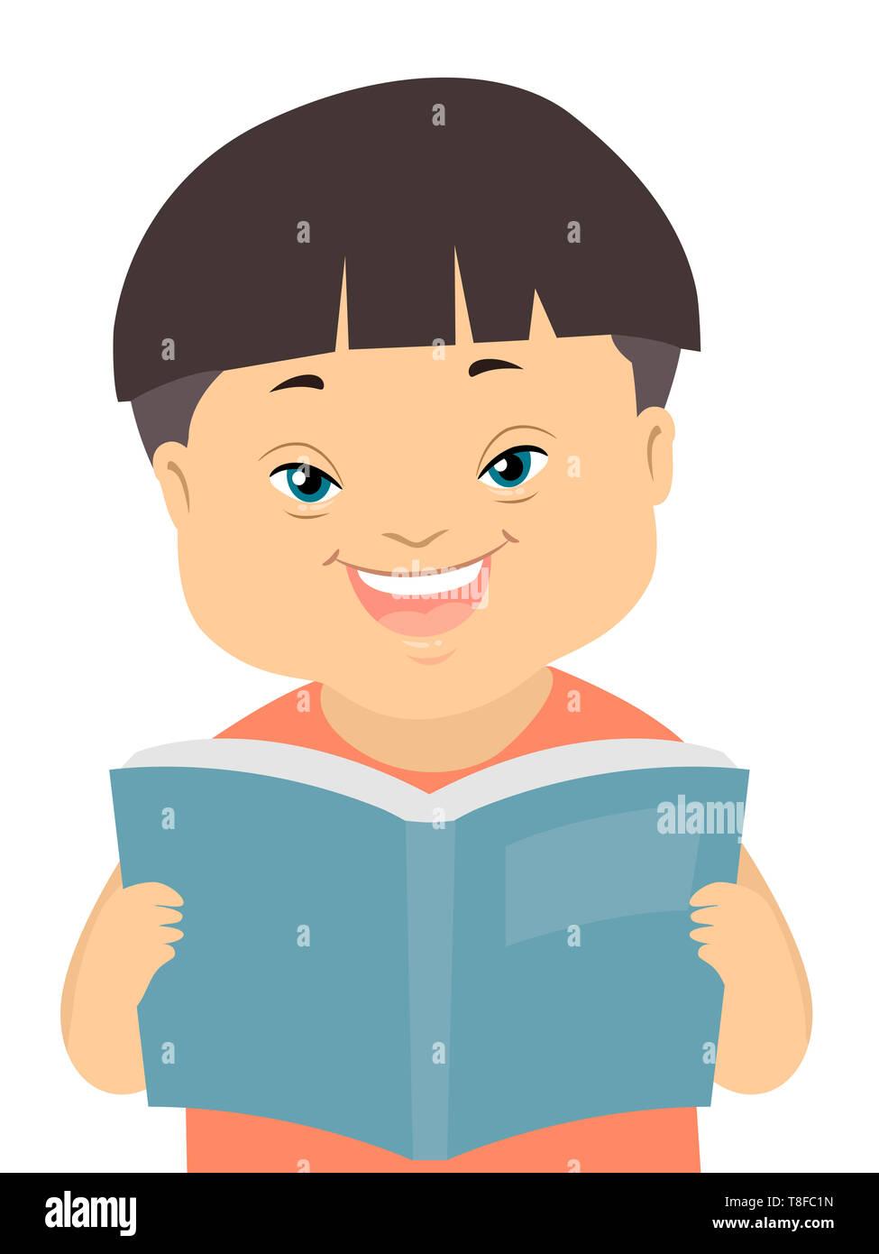 Ilustración de un niño chico con Síndrome de Down leyendo