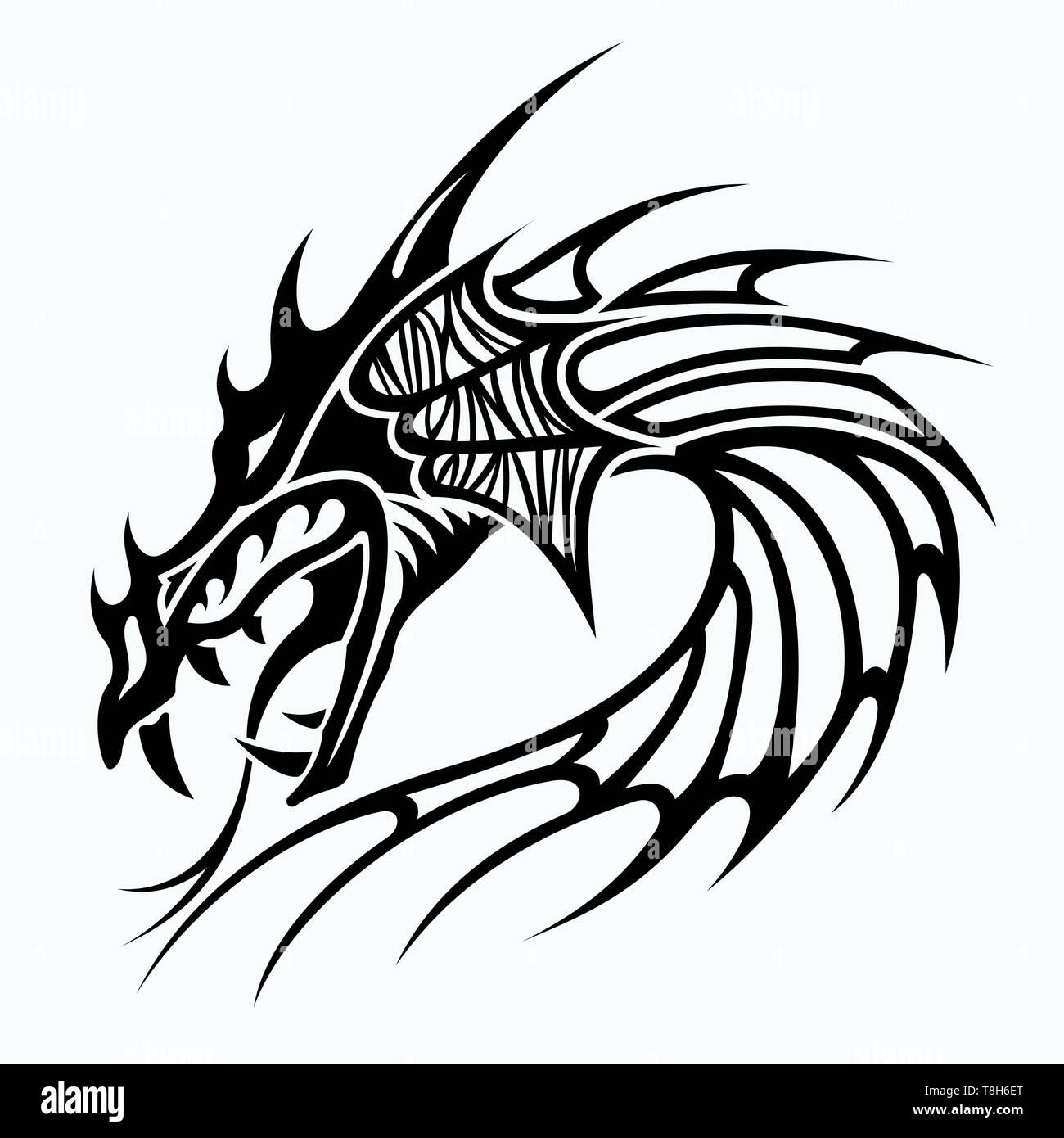 Cabezas De Dragones Para Tatuar tribal dragon tattoo designs imágenes de stock & tribal