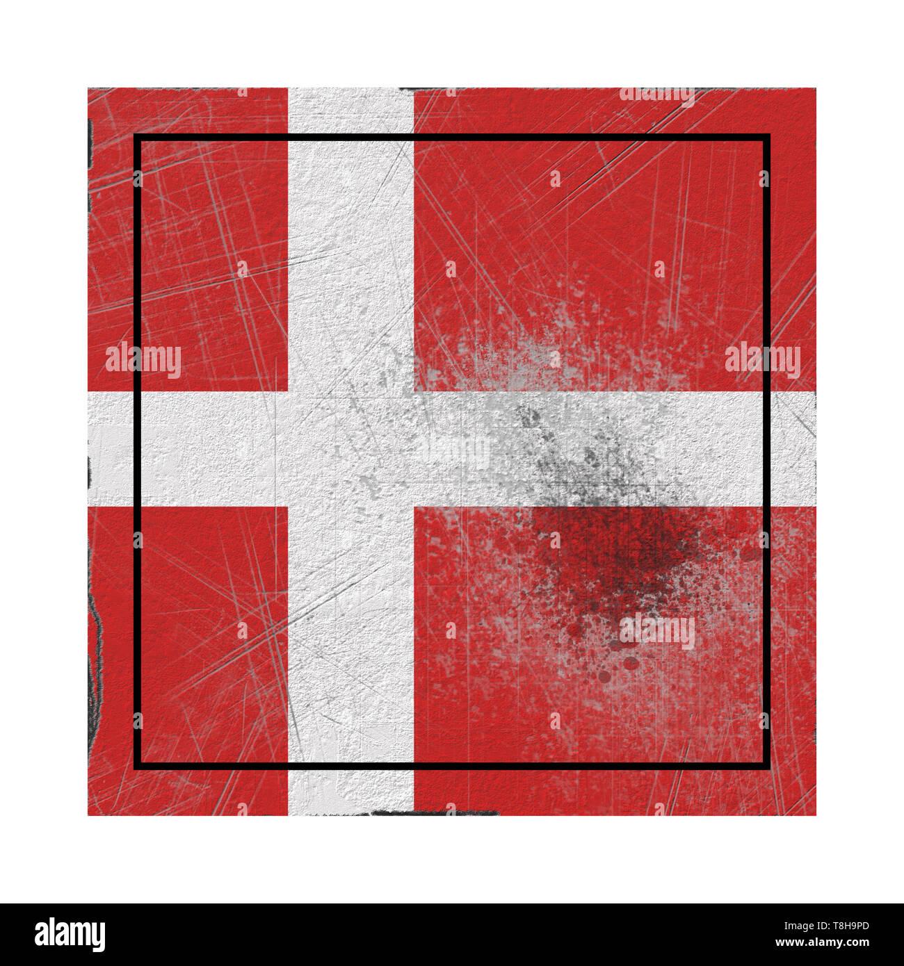 Representación 3D de Dinamarca la bandera del país sobre una superficie oxidada Foto de stock