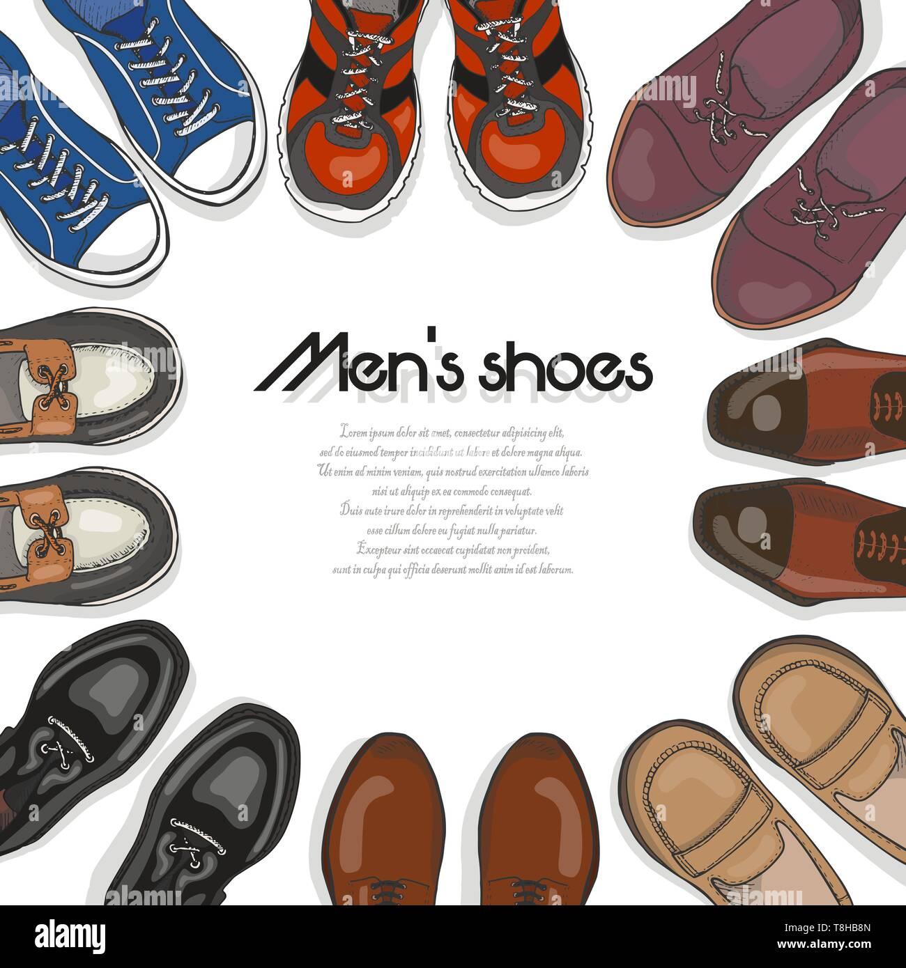 Antecedentes vectoriales con zapatos de hombre. Ilustración