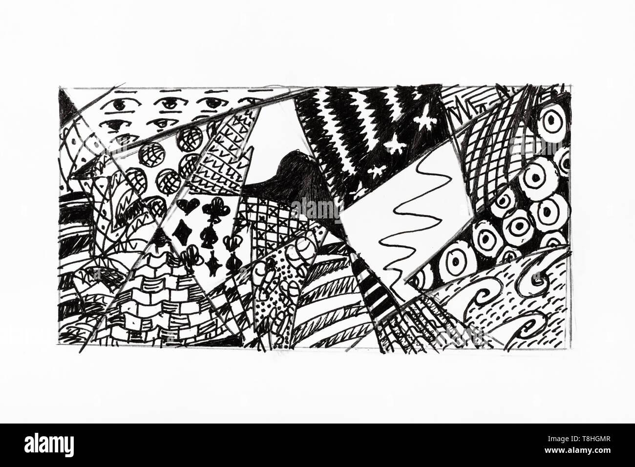Ornamento abstracto dibujado a mano con tinta negra en papel blanco Foto de stock