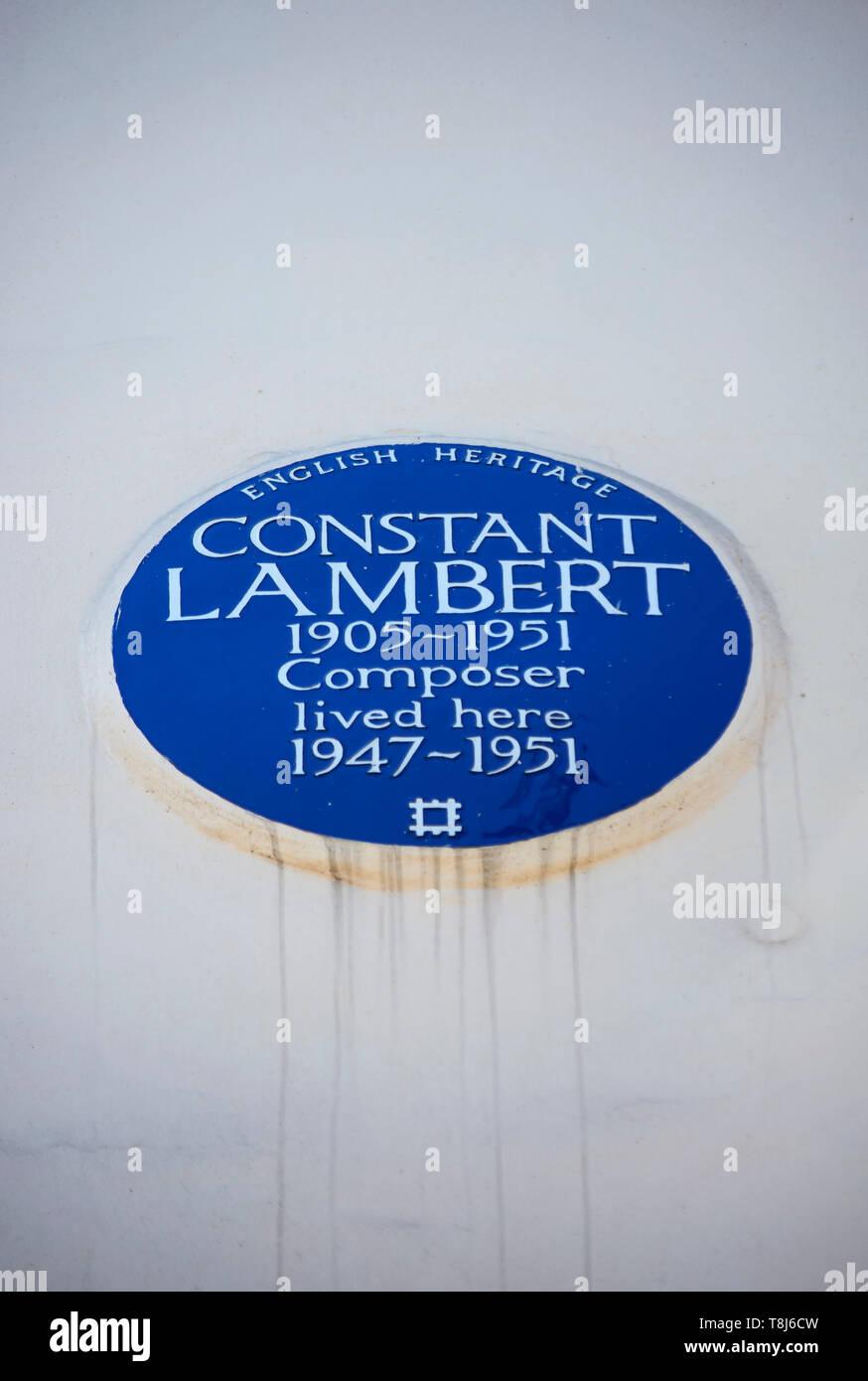 English Heritage placa azul marcando un hogar del compositor constante lambert, Camden, Londres, Inglaterra Foto de stock