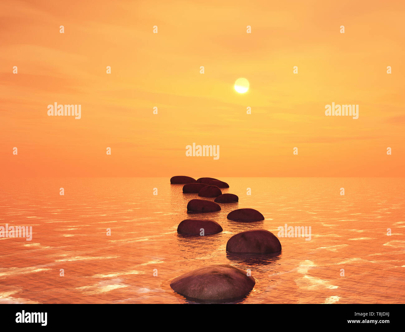 3D Render de Stepping Stones en un océano contra un atardecer cielo Foto de stock